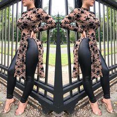 Stylish Applique Side Split Longline Blouse