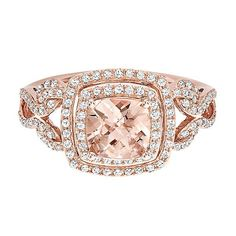 EFFY® Morganite & 1/2 ct. tw. Diamond Ring in 14K Rose Gold - 2178710