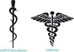 La vara de Esculapio es el símbolo de medicina (solo una serpiente, vara sin alas); el Caduceo de Mercurio es utilizado como símbolo del comercio (vara con 2 serpientes y alas) #Saberladiferencia