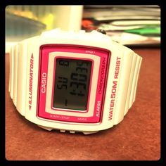 Casio Illuminator Women's Watch, Pink and White! Like new. Worn one time for an alarm in the morning. Date, Day, Time, Waterproof. No box, but will wrap in cute wrapping. Casio Accessories Watches