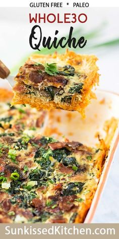 A dairy free quiche made with a sweet potato crust. This breakfast casse… A dairy free quiche made with a sweet potato crust. This breakfast casserole is sure to delight everyone! Gluten Free Breakfast Casserole, Breakfast Quiche, Sweet Potato Breakfast, Dairy Free Egg Casserole, Recetas Whole30, Healthy Sweet Snacks, Healthy Breakfast Recipes, Healthy Recipes, Dairy Free