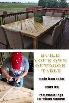 Build your own outdoor table out of cedar!