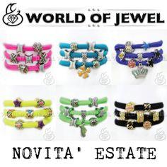 Bracciale in lycra con charms smaltati € 5,00 #bracelet #lycra #worldofjewel #charms #bijoux #jewelry #jewel #fashion #accessory #fluo #yellow #beautyful #summer #beads