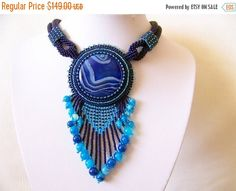 15% SALE Bead Embroidery Necklace Pendant Beadwork от lutita