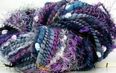 HandSpun Merino Wool Art Yarn - Hello Midnight Kitty Grrlz FunctionArt art yarn spun by kittygrrlz, $48.00