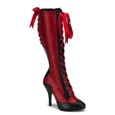 Spectator-inspired knee-high boots in black and red. Dangerously hot, these boots feature a rounded toe black with inch cm) concealed platform and perforated decorations on the edges, red background and black heel insertion. The front features a Sexy Boots, High Boots, Black Boots, Long Boots, Sexy Heels, Crazy Shoes, Me Too Shoes, Bottes Goth, Heeled Boots