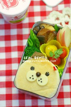Seal Kyaraben, English Muffin Bento Lunch (BLT Sandwich, Cheese and Nori)