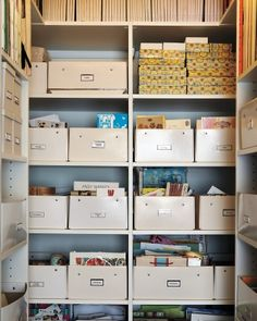 Tip 07: Behind Closed Doors      Darcy doesn't keep a mere inspiration board but an inspiration closet: She files away tear sheets and favorite ephemera in the room's double-doored closet.         Shirt boxes, by Bigso, from $13 each, containerstore.com.