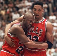9562fb473a0d The Chicago Bulls  Michael Jordan collapses in the arms of teammate Scottie  Pippin