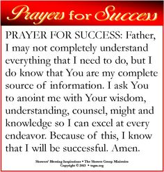 Father, I may not completely understand everything that I need to do, but I do know that You are my complete source of information. I ask You to anoint me with Your wisdom, understanding, counsel, might and knowledge so I can excel at every endeavor. Because of this, I know that I will be successful. Amen.