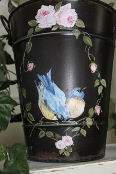 hand painted tin pail by Gail McCormack.   Beautiful!  :~D