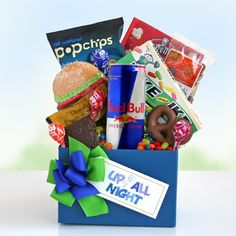 Late Night Pick Me Up Our Up All Night Care package is the perfect gift for that week of Finals, or the night before the big presentation at work. Help them prepare to be excellent with this fun box o