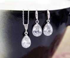 Suzette - Cubic Zirconia Teardrop Jewelry Set, Wedding Bridal Bridesmaid Earrings and Necklace, Cubic Zirconia Earrings, Silver gift for her, www.glitzandlove.com