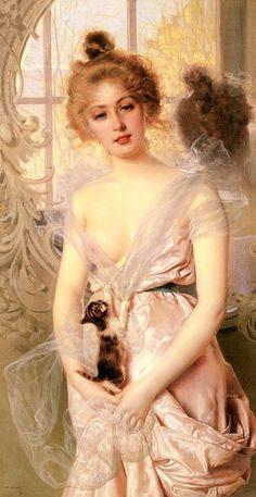 painting >> Vittorio Matteo Corcos  - The New Kitten