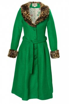 Collectif Clothing - 40s Ashley Coat Emerald Green