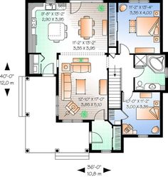 Country Plan: 1,184 Square Feet, 2 Bedrooms, 1 Bathroom - 034-00616 Sims House Plans, Basement House Plans, House Plans And More, Garage Plans, Small House Plans, The Plan, How To Plan, Plan Plan, Country Style House Plans