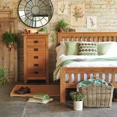 Rustic Oak Double Bed including free delivery (608.009) | Pine Solutions - NRO46BED