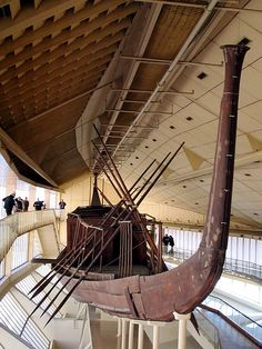 Solar Boat    This cedar boat is one of two found by the Great Pyramid at Giza, intact but dismantled. It took 12 years to reconstruct it. There is another one still in its original pit, and there were three additional pits on the other side that were empty. The king needed 2 to travel with the sun across the sky, 2 to travel through the night, and one to cross to the underworld