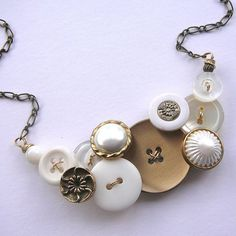 Vintage Button Necklace with Brassy Gold and white buttons by buttonsoupjewelry, $32.00