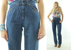 $72, Vintage 70s Levis Jeans High Rise Waisted Straight Leg Embroidered 1970s XS Dark Blue Denim by ScarletFury on Etsy