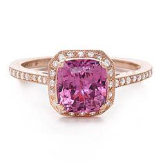 Beverley K Padparadscha Sapphire Diamond Engagement Ring