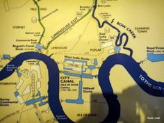 Map of the Canals Winding Through the City of London, UK.  canalmuseum.org.uk    ©SuziLove