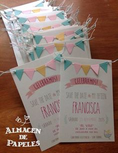 Sweet and simple invitation with mini bunting detail. Shower Invitations, Wedding Invitations, Graduation Invitation Cards, Diy Birthday Invitations, Deco Baby Shower, Birthday Cards, Happy Birthday, Partys, Unicorn Party