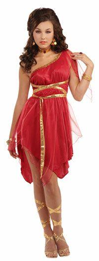 Forum Novelties Womens Ruby Red Goddess Halloween Party Dress Costume from BHFO. Red Dress Run, Red Dress Costume, Toga Costume, Fancy Dress, Roman Goddess Costume, Goddess Halloween Costume, Cop Halloween Costume, Halloween Ideas, Halloween 2015
