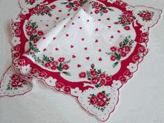 Bouquets and Hearts Valentine Vintage Style Cotton Hankie - Vintage Style Hankies - Roses And Teacups