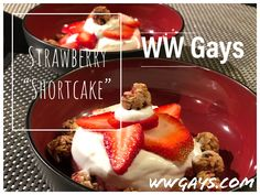 We love strawberry shortcake but needed a lower point option. White Chocolate Syrup, Sugar Free White Chocolate, Strawberry Slice, Strawberry Shortcake, Jello Pie, Granola Bites, Best Granola, Weight Watchers Diet, Healthy Baking