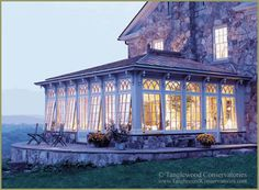 Stone house with the most beautiful conservatory! This is now officially on my dream board. Glass Conservatory, Conservatory Design, Porches, Outdoor Rooms, Outdoor Living, English Cottage, Houses Architecture, Gazebos, Interior Exterior