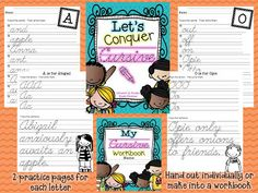 Cursive practice... can be used as individual pages or made into a student workbook... cover is included!  #cursive #handwriting