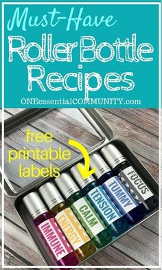 Must-Have Roller Bottle Recipes & Free Printable Labels I'm very excited about this post!  One of my favorite blog posts I've ever done is 21 roller bottle blends for emotions.  Not only are they many of my favorite roller bottle recipes, but the really exciting thing (for me at least) is that