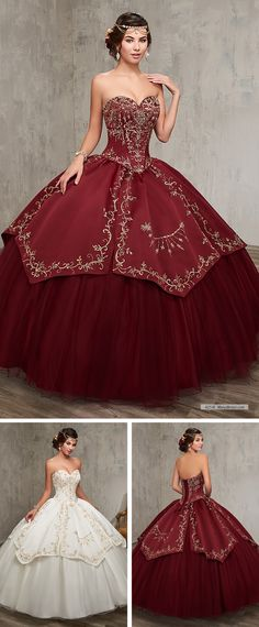 Mary's Quinceanera 4Q516 • Strapless sweetheart quinceanera ball gown with satin basque waisted corset bodice, tulle skirt with satin skirt overlay, embroidery embellishment, lace-up back, and matching bolero.