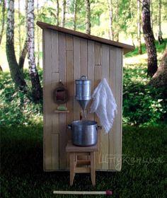Outhouse for dollhouse :) #Dollhouse #miniature #toilet #tiny #wood В туалете все как положено - плакат с раздевающейся женщиной, запас туалетной бумаги, модный освежитель, сиденье с подогревом, специально для мужчин разработана технология подъема стульчака. Ну и коврик, чтоб пятки не мерзли. Бачок подкачал, видимо не хватило денег на новую сантехнику. Зато снаружи можно ручки помыть :