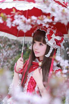 Cute Kawaii Red Lolita Dress and Headband / Lolita Girl / Fashion Photography / Cosplay // ♥ More at: https://www.pinterest.com/lDarkWonderland/