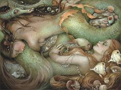 CHRISTINA WYATT-Mystical, visionary and fantasy art. Discover some of the most spiritual artwork by amazing artist from around the world. Mythical Creatures, Sea Creatures, Fantasy Creatures, Art Magique, Sea Siren, Mermaid Fairy, Mermaid Dolls, Water Nymphs, Mermaids And Mermen
