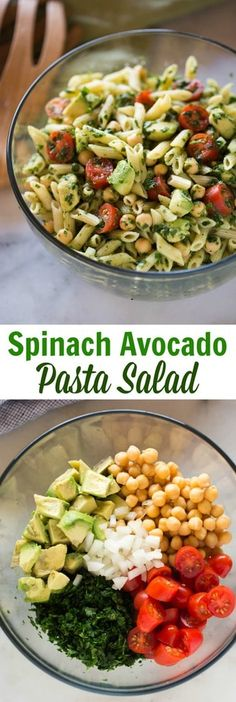 This Spinach Avocado Pasta Salad is not only delicious, it's packed with vegetables and protein for a healthy meal or side dish.#pasta #easy #salad #healthy via @betrfromscratch