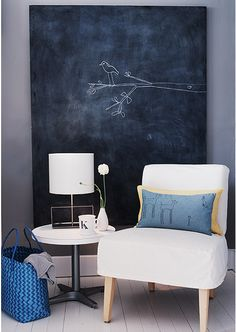 I want a black board for my bedroom. I had an idea to make one out of plywood and chalkboard paint, with some wood trim for a frame, but I like how this one looks without a frame. I can always doodle a frame anyway...