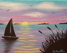 """""""Pastel Sailboat Sunset"""" For a paint & sip class"""