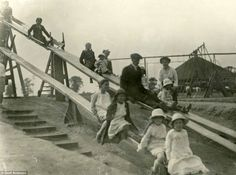The world's first children's slide. The primitive piece of play equipment was constructed in 1922 in Wicksteed Park in Kettering, Northamptonshire - the first public park in the UK. It's creator Charles Wicksteed also invented the modern swing and revolutionized the way children played outdoors.