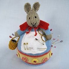 Rowena Rabbit - knitted pincushion by Wendy Phillips pattern $3.99 on Ravelry at http://www.ravelry.com/patterns/library/rowena-rabbit---knitted-pincushion
