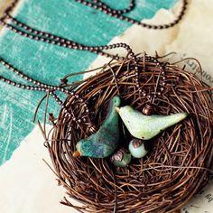 Birds. Clay, pendant. kylie parry studios: