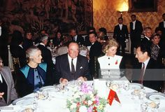 Diana, Princess of Wales (2nd left), during her official visit to France on November 8, 1988 in Paris, France.