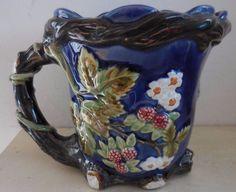 VINTAGE BLUE RASPBERRIES BERRIES MAJOLICA FLOWERS PITCHER