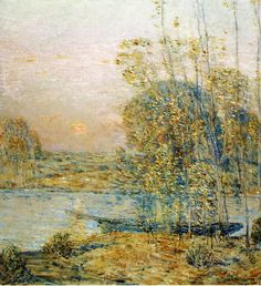 childe hassam paintings | Frederick Childe Hassam >> Late Afternoon (aka Sunset) | (Oil, artwork ...