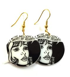 Comic Book Girl Black and White Charm by YogiYoAccessories on Etsy Comic Book Girl, Comic Books, Funky Earrings, Drop Earrings, Charmed, Black And White, Comics, Trending Outfits, Unique Jewelry