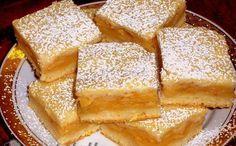 Mennyei almás: kb. 60 dkg liszt, 10 dkg cukor, 25 dkg vaj, csipet só, 1 tojás, 1 cs sütőpor, 1 cs vaniliás cukor, 2 dl joghurt, 1 késhegynyi szódabikarbóna. A töltelékhez: 1,5 kg alma, 10 dkg cukor, fahéj ízlés szerint.