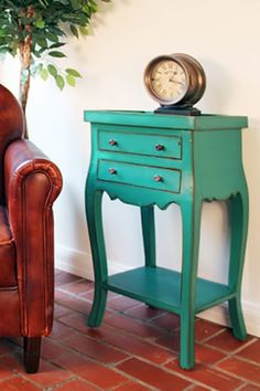 I feel like I could find one of these at a thrift store, give it some turquoise paint, and have a pretty and vintage master piece. My kind of furniture! I'll be looking in to doing just that.