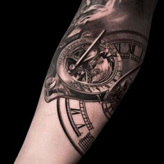 80 Clock Tattoo Designs For Men - Timeless Ink Ideas Band Tattoos For Men, Forearm Band Tattoos, Elbow Tattoos, Cool Tattoos For Guys, Body Art Tattoos, Sleeve Tattoos, Clock Tattoos, Tatoos, Latest Tattoos